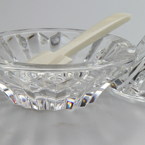 Pair of Crystal Caviar Dishes with Ivory Spoons - The Antique Guild