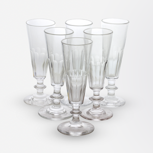 Set of Six Hand Blown Champagne Flutes