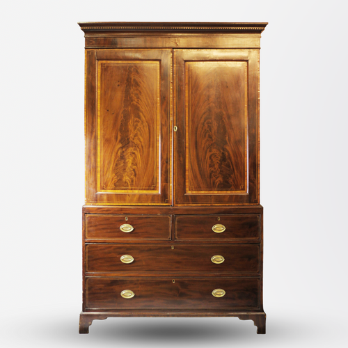 George III Inlaid Mahogany Linen Press