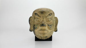 Decorative Bronze Chinese Mask with Stand - The Antique Guild