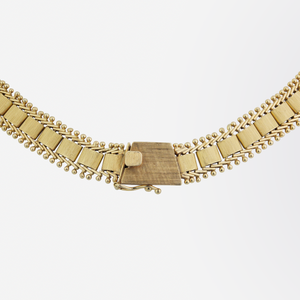 Mid Century 14kt Yellow Gold and Diamond Necklace