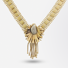 Load image into Gallery viewer, Mid Century 14kt Yellow Gold and Diamond Necklace