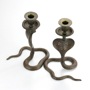 Pair of Brass Cobra Candle Holders - The Antique Guild