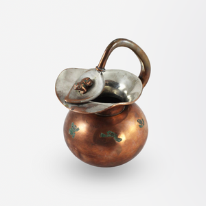 Mexican Copper, Brass and Malachite Inlay Frog Pitcher by Chato Castillo, Taxco