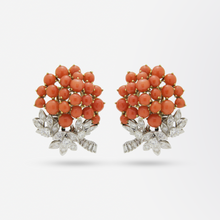 Load image into Gallery viewer, Pair of French, 18 Karat Gold, Coral and Diamond Ear Clips