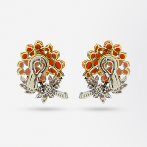 Pair of French, 18 Karat Gold, Coral and Diamond Ear Clips