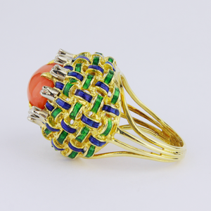 Bulgari Style, 18kt Gold, Enamel, Coral and Diamond Ring