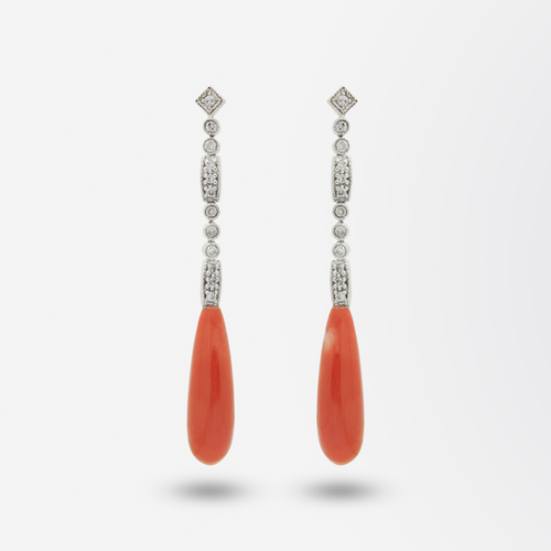 14kt White Gold and Diamond, Art Deco Coral Earrings