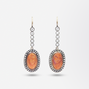 Russian 18kt Rose Gold, Diamond and Cameo Earrings