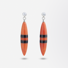 Load image into Gallery viewer, Pair of 18kt White Gold, Diamond, Coral, and Onyx Earrings