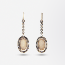 Load image into Gallery viewer, Russian 18kt Rose Gold, Diamond and Cameo Earrings