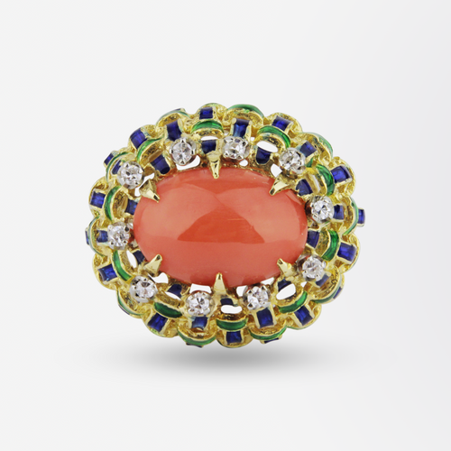 18kt Enamel, Coral and Diamond Ring