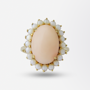 An 18kt Yellow Gold, Coral and Pearl Suite
