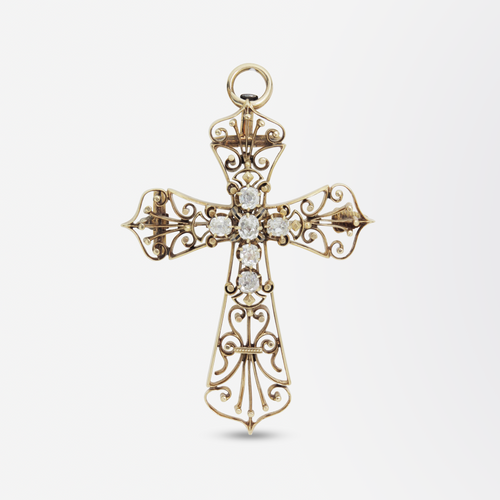 18kt Yellow Gold and Diamond Cross Brooch Pendant