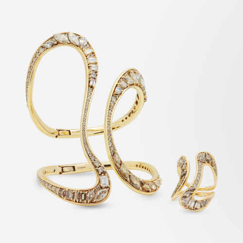 18kt Gold Cuff and Ring Suite Set With Diamonds