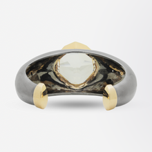 Load image into Gallery viewer, Bold 18kt Rose Gold, Sterling Silver, Smokey Quartz, and Diamond Cuff Bracelet