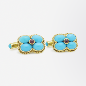 French 18kt Gold Cufflinks Set With Cabochon Turquoise and Rubies