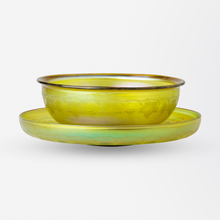Load image into Gallery viewer, Etched Gold Tiffany Studios Favrile Glass Bowl and Saucer