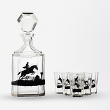 Load image into Gallery viewer, Art Deco Decanter Set Decorated with Fox and Hounds