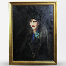 Load image into Gallery viewer, Art Deco Oil Portrait of a Woman, Signed - The Antique Guild