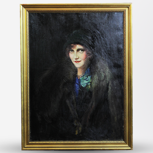 Art Deco Oil Portrait of a Woman, Signed - The Antique Guild