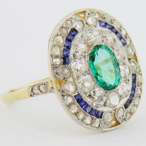 French Art Deco, Diamond, Emerald and Sapphire Cocktail Ring