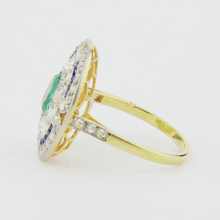 Load image into Gallery viewer, French Art Deco Cocktail Ring Diamond, Emerald & Sapphire