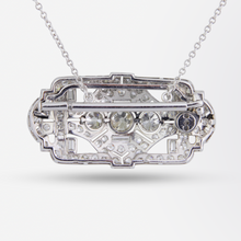 Load image into Gallery viewer, Platinum and Diamond Art Deco Brooch Necklace