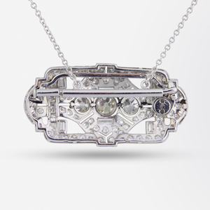 Platinum and Diamond Art Deco Brooch Necklace