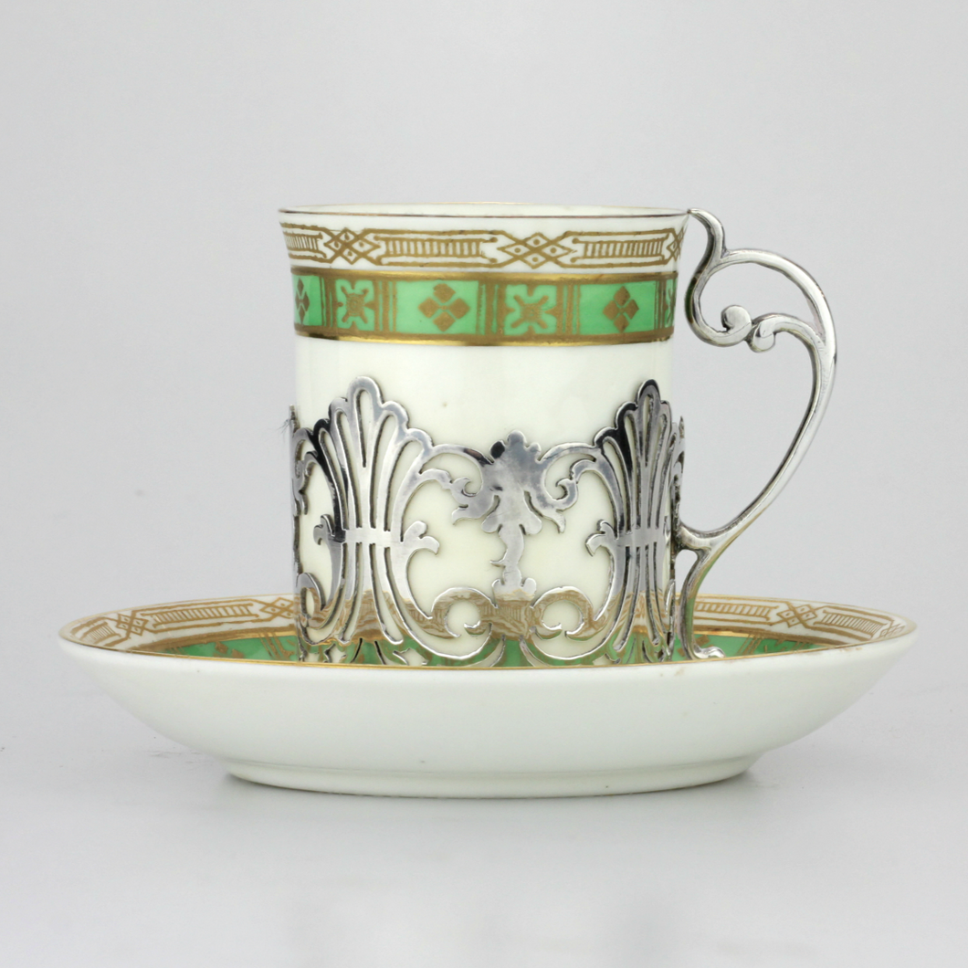 Six Demitasse Cups & Saucers with Matching Spoons - The Antique Guild