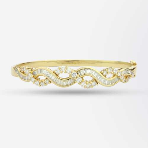 18kt Gold and Diamond Twist Hinged Bangle