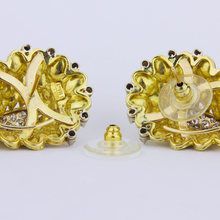 Load image into Gallery viewer, Italian 18k Gold and Diamond Earrings