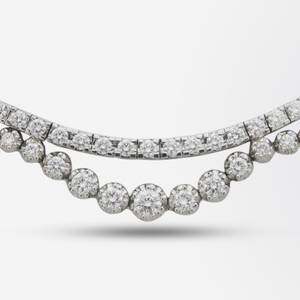 Fine 18kt White Gold and Diamond Riviere Necklace