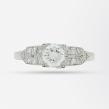 Load image into Gallery viewer, Platinum and Diamond Art Deco Style Ring