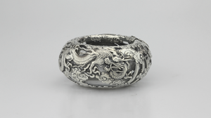 Japanese Sterling and Glass Dragon Bowl - The Antique Guild