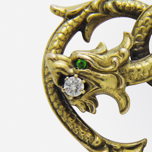 Victorian 14kt Gold, Diamond and Peridot Griffin Brooch Pin