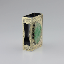 Load image into Gallery viewer, Edward I. Farmer Sterling Silver Matchbox Holder with Jadeite Plaque - The Antique Guild