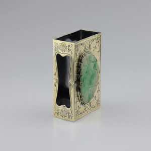 Edward I. Farmer Sterling Silver Matchbox Holder with Jadeite Plaque - The Antique Guild