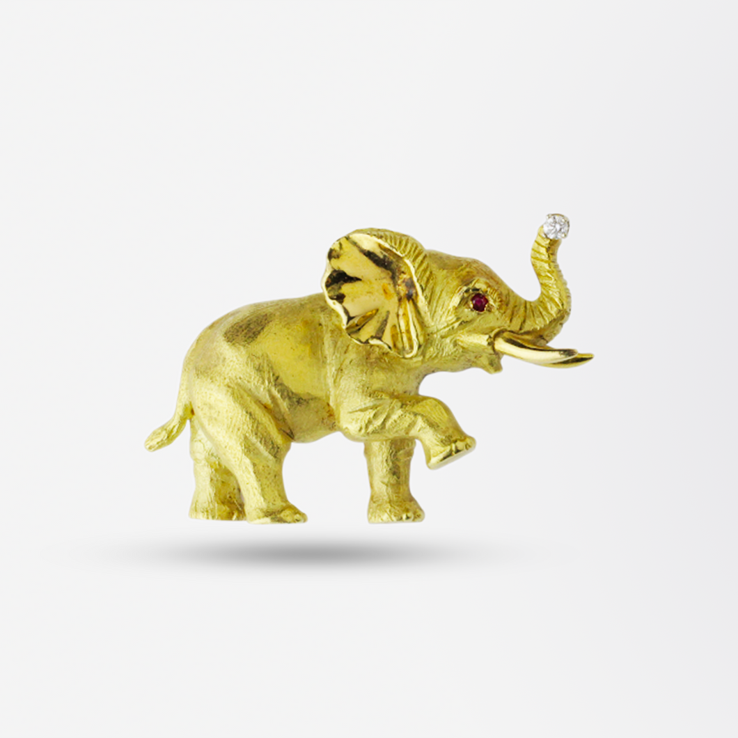 18kt Yellow Gold, Ruby & Diamond Elephant Brooch Pin