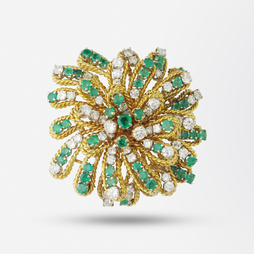 Twisted Gold, Emerald and Diamond Cocktail Brooch Pendant