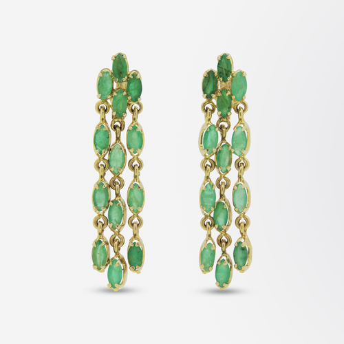 18kt Gold and Marquise Emerald Drop Earrings