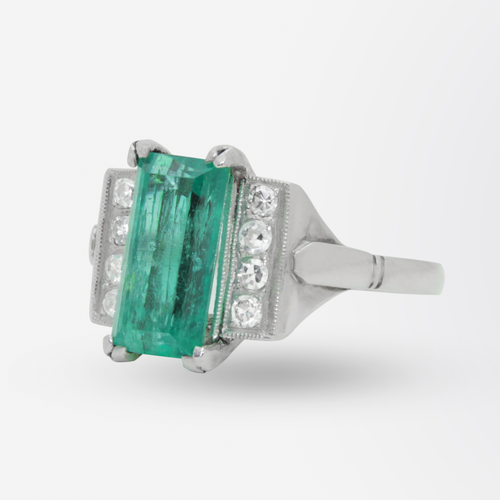 Original Art Deco, Platinum, Emerald, and Diamond Ring