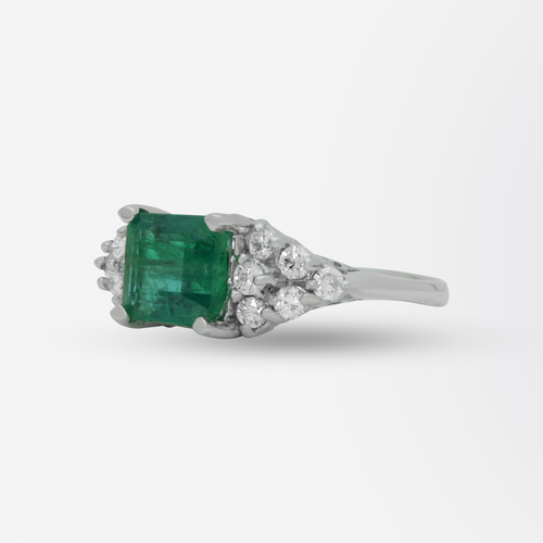 18kt White Gold, Emerald, and Diamond Ring