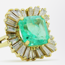 Load image into Gallery viewer, Exceptional Emerald and Diamond 'Ballerina' Ring