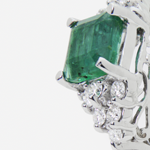 Load image into Gallery viewer, 18kt White Gold, Emerald, and Diamond Ring
