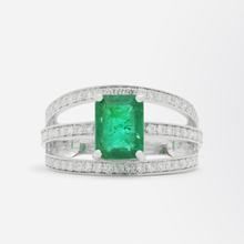Load image into Gallery viewer, Three Row Platinum and Diamond Ring with Central Emerald