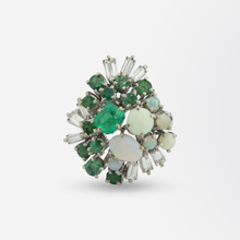 Load image into Gallery viewer, Platinum, Emerald, Opal and Diamond Ring