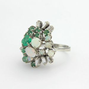 Platinum, Emerald, Opal and Diamond Ring - The Antique Guild