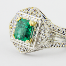 Load image into Gallery viewer, Platinum Emerald and Diamond Ring