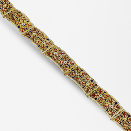 18kt Gold and Enamel Portuguese Bracelet